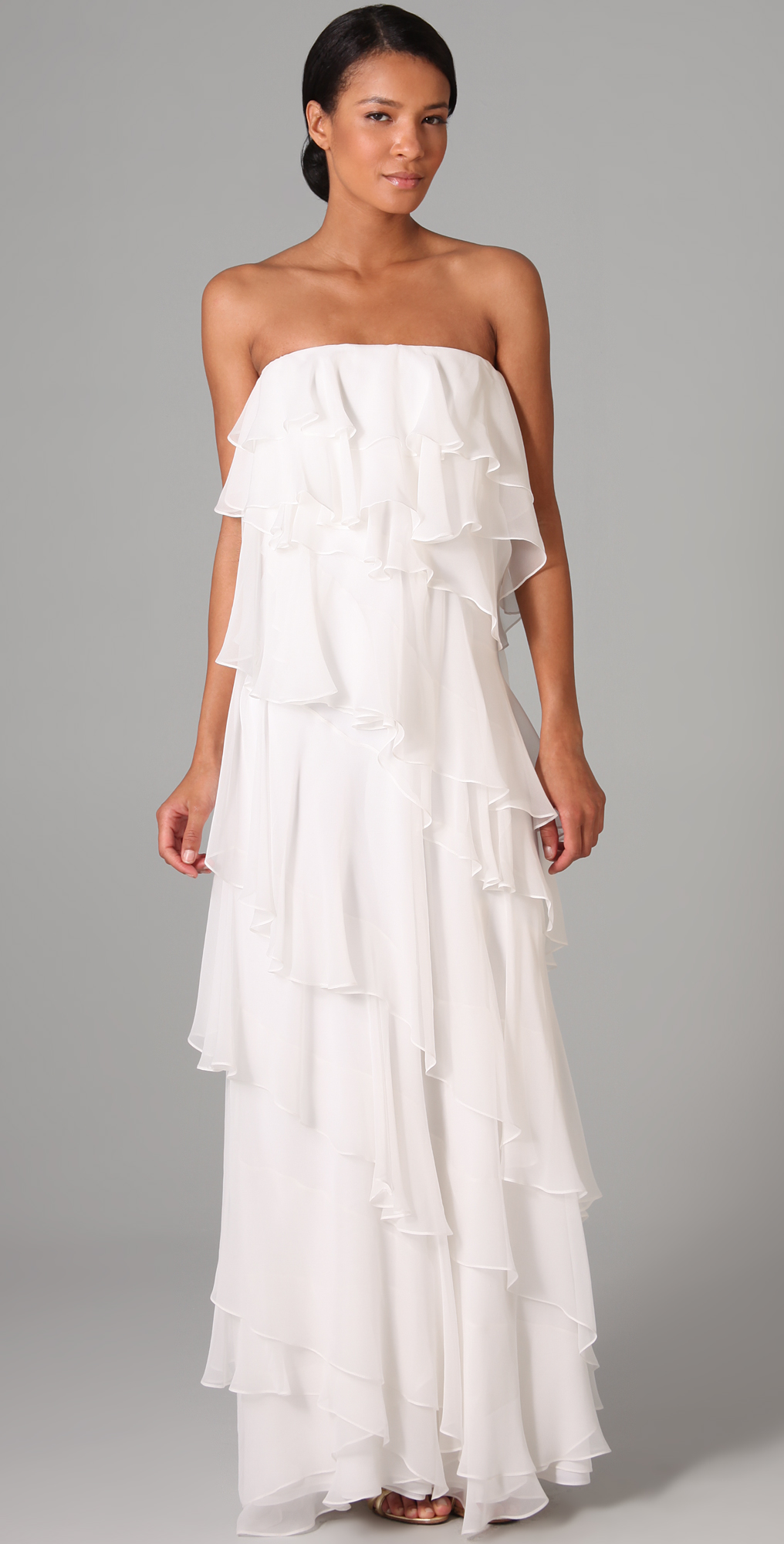 Halston Heritage Ruffle Strapless Long Dress | SHOPBOP