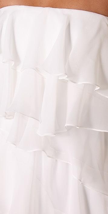Halston Heritage Ruffle Strapless Long Dress
