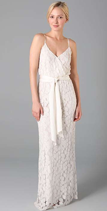 Halston Heritage Spaghetti Strap Long Dress