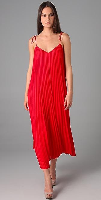 Halston Heritage Spaghetti Strap Pleated Maxi Dress