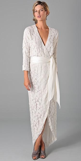 Halston Heritage Kimono Wrap Long Sleeve Gown
