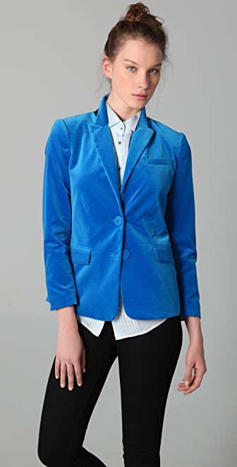 Halston Heritage Single Breasted Velvet Jacket
