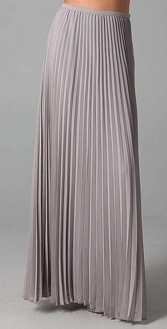 Halston Heritage Long Pleated Skirt
