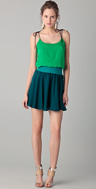 Halston Heritage Colorblock Smocked Waist Dress
