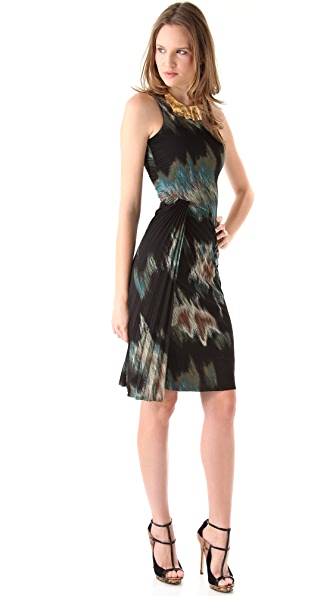 Halston Heritage Print Sheath Dress with Pleating