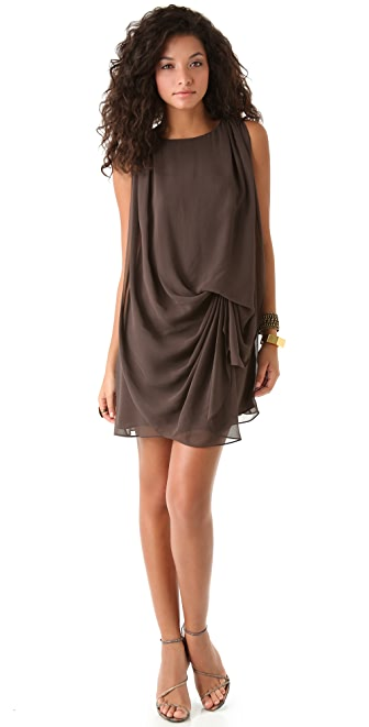 Halston Heritage Sleeveless Drape Front Dress