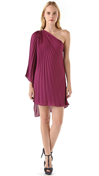 Halston Heritage One Shoulder Pleated Dress