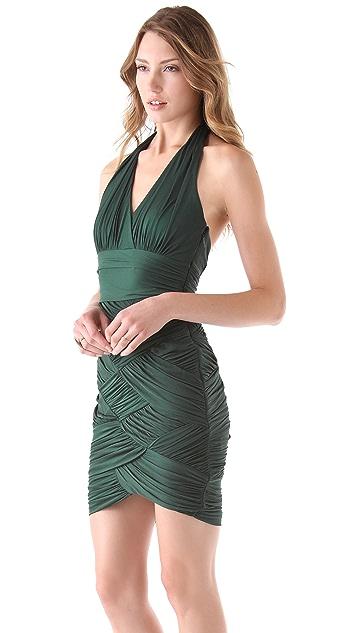 Halston Heritage Halter Basket Weave Dress