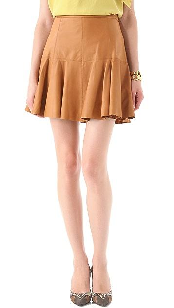 Halston Heritage Flared Leather Skirt