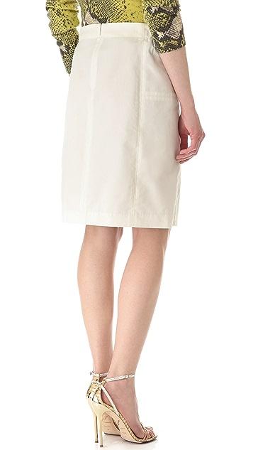 Halston Heritage Leather Combo Skirt