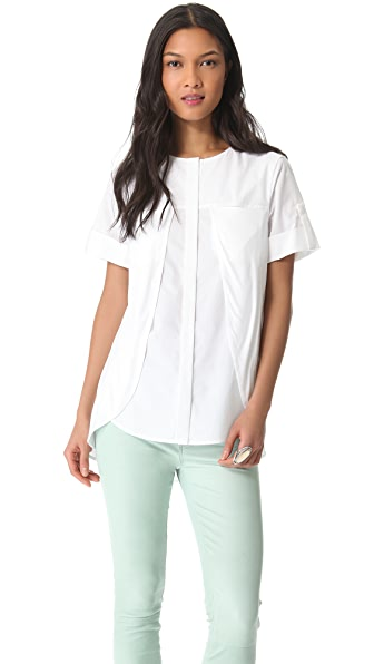 Halston Heritage Knit Overlay Cotton Shirt