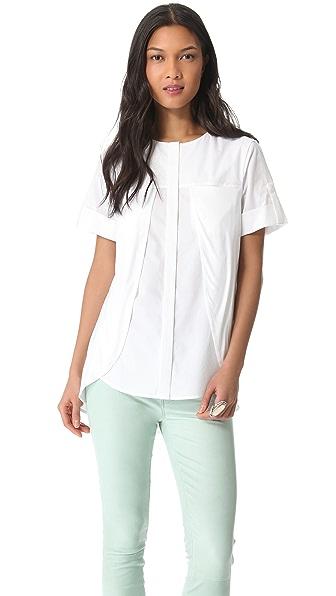 Halston Heritage Knit Overlay Cotton Shirt