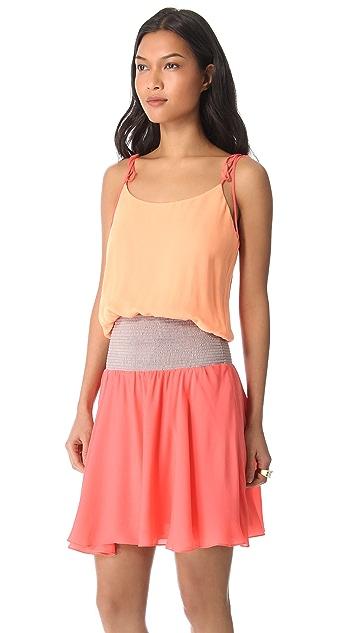 Halston Heritage Tie Shoulder Colorblock Dress