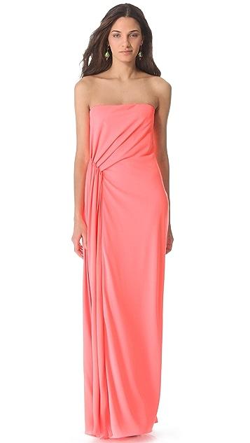 Halston Heritage Strapless Ruched Waist Gown