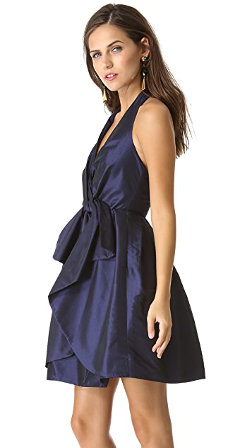 Halston Heritage Bow Halter Dress with Pocket