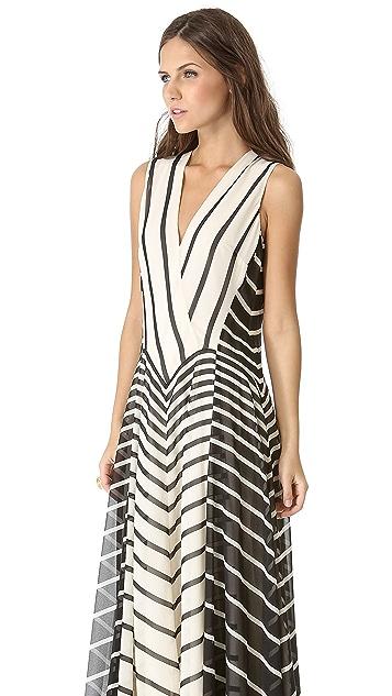 Halston Heritage A Line Stripe Gown