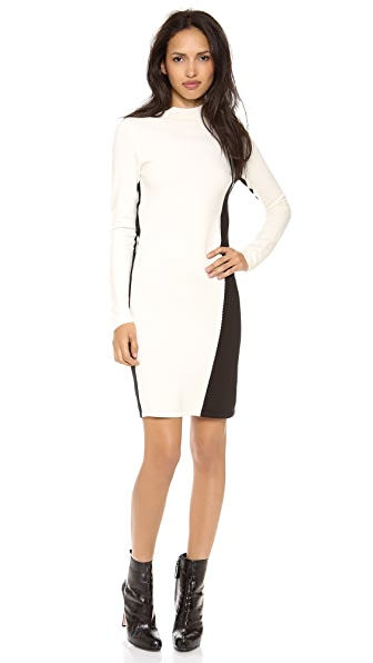 Halston Heritage Mock Neck Colorblock Sweater Dress