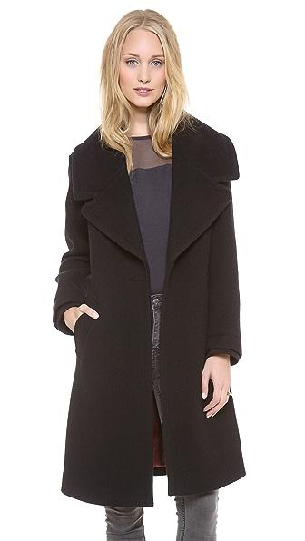 Halston Heritage Cocoon Coat w Oversized Lapel