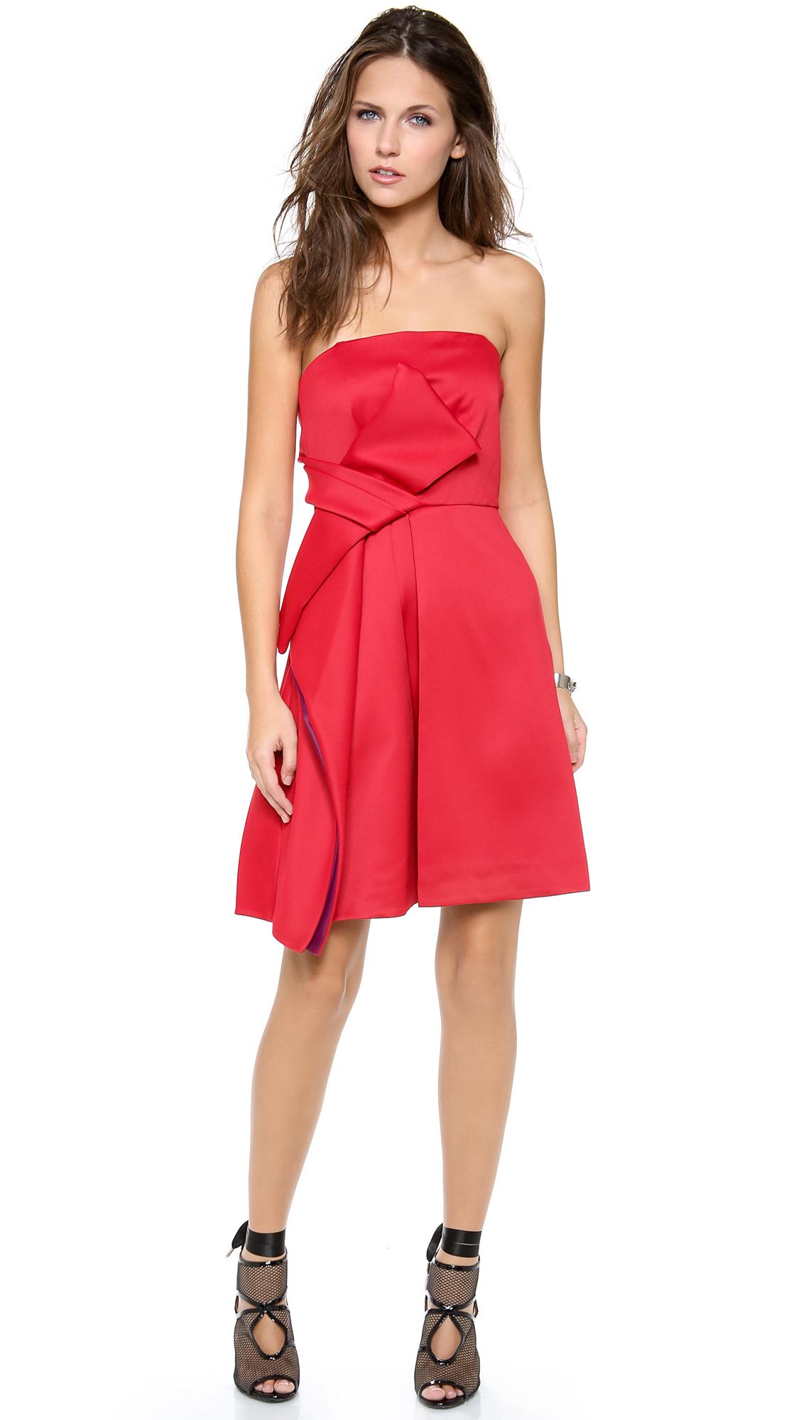 Halston Heritage Strapless Colorblock Bow Dress - SHOPBOP
