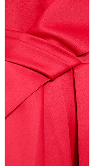 Halston Heritage Strapless Colorblock Bow Dress