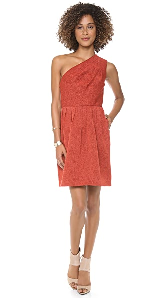 Halston Heritage One Shoulder Bell Skirt Dress