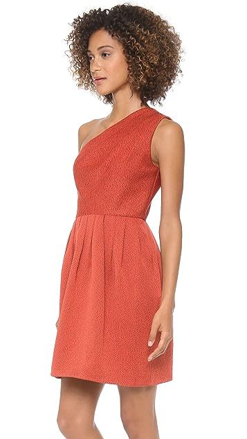 Halston Heritage One Shoulder Bell Skirt Dress