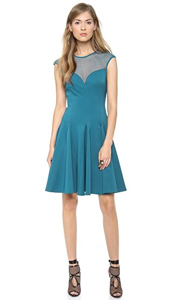 Halston Heritage Dotted Mesh & Ponte Dress