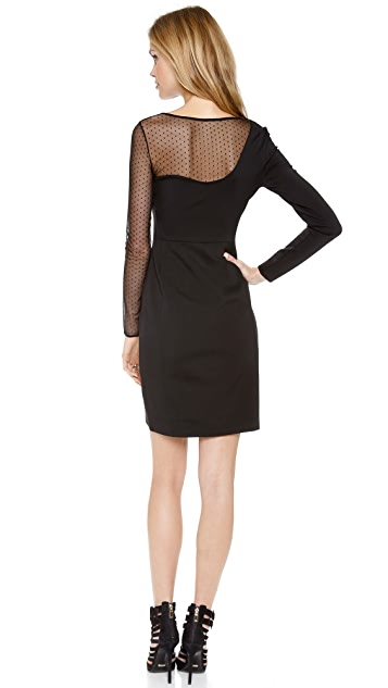Halston Heritage Mesh Layer Sheath Dress