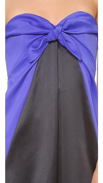 Halston Heritage Strapless Knot Column Gown