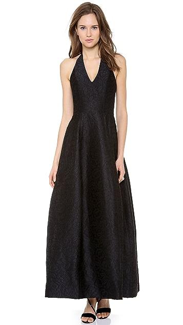 Halston Heritage Halter Jacquard Gown with Tulip Skirt