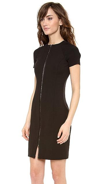 Halston Heritage Fitted Rib Zip Dress