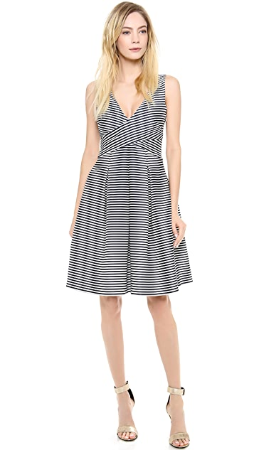 Halston Heritage Mini Stripe Bell Skirt Dress