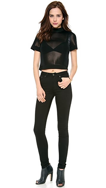 Halston Heritage Short Sleeve Cropped Mesh Top