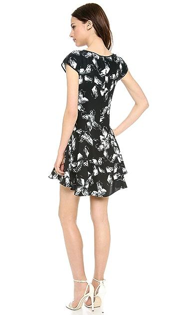 Halston Heritage Cap Sleeve Print Dress