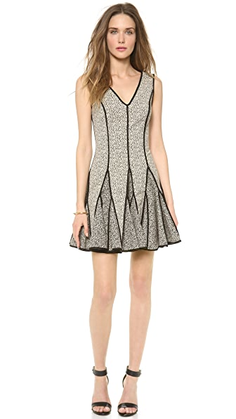 Halston Heritage V Neck Jaquard Dress