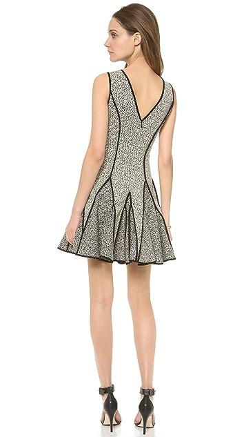 Halston Heritage V Neck Jaquard Dress