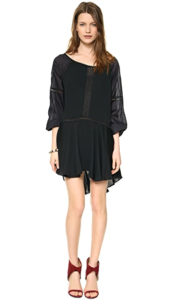 Halston Heritage Bellow Sleeve Off the Shoulder Dress