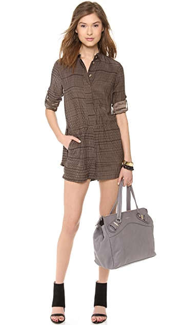 Halston Heritage Long Sleeve Button Down Romper
