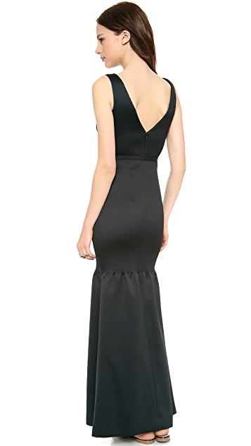 Halston Heritage V Neck Gown with Pintucks