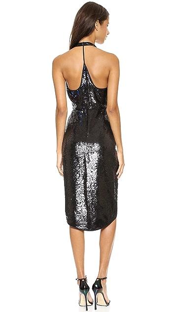 Halston Heritage Sequin Halter Gown