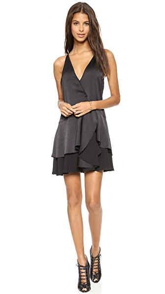 Halston Heritage Tiered Skirt Wrap Dress