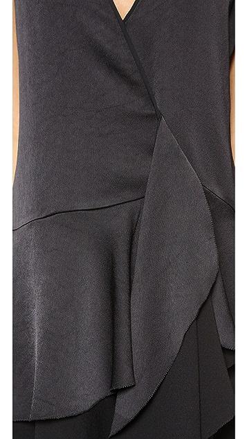 Halston Heritage Tiered Skirt Wrap Dress