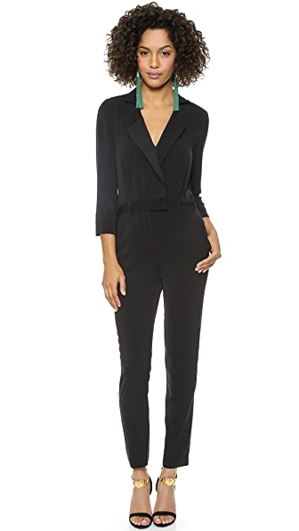 Halston Heritage Long Sleeve Lapel Jumpsuit