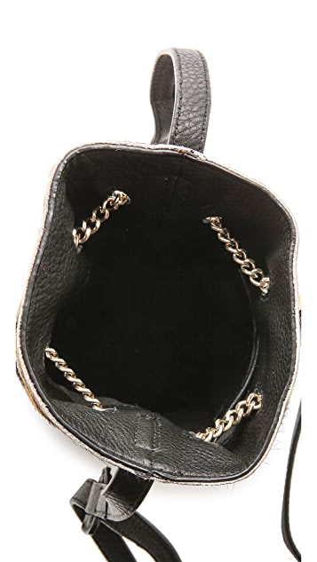 Halston Heritage Mini Haircalf Bucket Bag