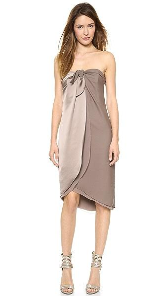 Halston Heritage Strapless Wrap Dress
