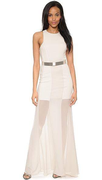 Shop Halston Heritage online and buy Halston Heritage Sleeveless Sheer Overlay Gown Dark Bone dress online