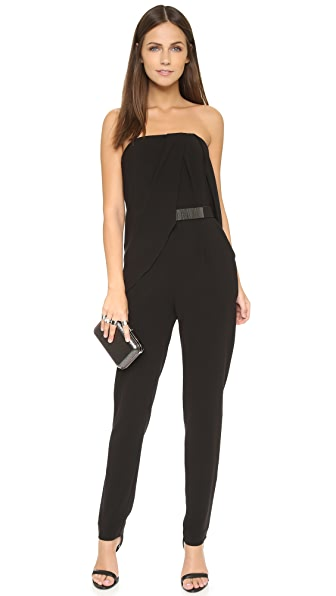 Halston Heritage Strapless Jumpsuit with Belt