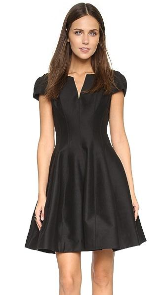 Halston Heritage Notch Neck Tulip Dress - Black