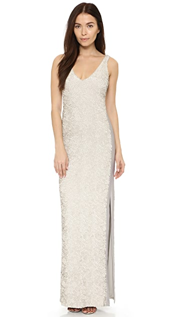 Halston Heritage Sequined Gown with Side Slit