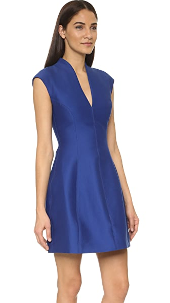 Halston Heritage Cap Sleeve Structured Dress In Indigo
